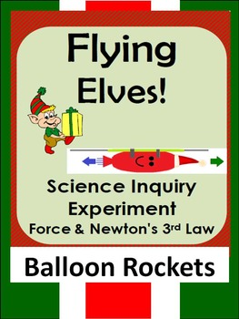 Christmas Science Inquiry force experiment-Newton's 3rd law- balloon rockets