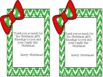 Christmas Thank You Note - Freebie