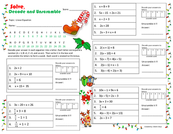 Christmas Theme Linear Equation - Solve, Decode and Unscramble Fun Worksheet