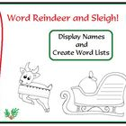 Christmas Word Reindeer and Santa Sleigh