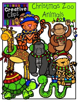 Christmas Zoo Animals {Creative Clips Digital Clipart}