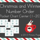 Christmas and Winter Number Order Pocket Chart Center