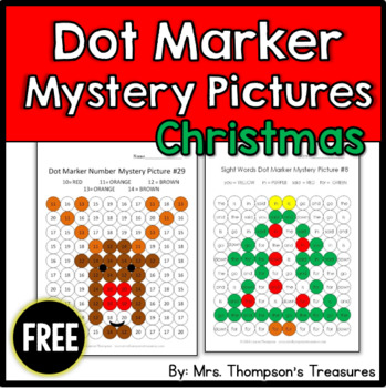 FREE Christmas Printables - Dot Marker Mystery Pictures