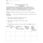 Chromatography Lab (density Solutions Mixtures)