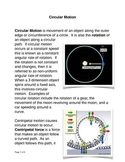 Circular Motion Common Core Reading and Writing Activities