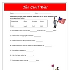 Civil War Questions Map Activity: Modified CD LD SPED Common Core