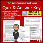 Civil War Quiz, Test, Assessment, Answer Key (Common Core)