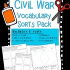 Civil War Vocabulary Word Sorts Pack