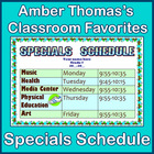 Class Schedule Template for Specials