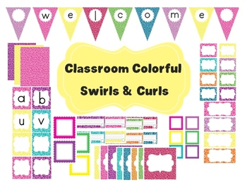 Classroom Colorful Decor Set~ EDITABLE~ Banner, Word Wall,