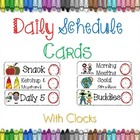 Classroom Daily Schedule Cards With Clocks