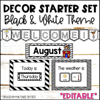 CLASSROOM DECOR {BLACK AND WHITE THEME} - TeachersPayTeachers.