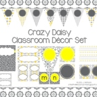 Classroom Decor Set ~ Gray and Yellow ~ Crazy Daisy {Editable}