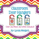 Classroom Door Hangers in Color and Black and White