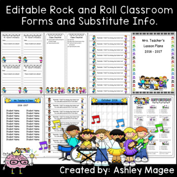 Classroom Forms and Substitute Info. - Rock and Roll Kids Theme