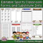 Classroom Forms and Substitute Information - Sports Theme