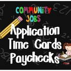 Classroom Job Forms - Application, Time Cards, Paychecks