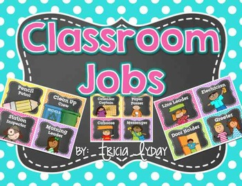 Classroom Jobs in BRIGHT Polka Dot & Chalkboard and EDITABLE Job Cards