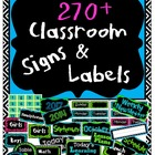 Classroom Labels - Turquoise, Lime Green, Black, and Pink