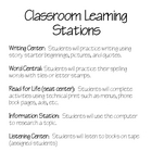 Classroom Learning Stations