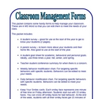 Classroom Management Forms - Handy and Easy to Use!