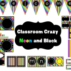 Classroom Decor Set~Rainbow Brights and Black~ EDITABLE si