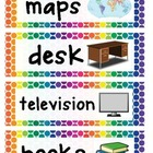 Classroom Object Labels - Rainbow Colors