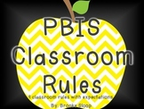 PBIS Classroom Rules with Chevron Apple Accents!
