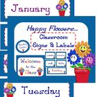Classroom Signs and Labels (Happy Flowers Theme)