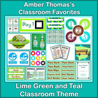 Classroom Theme:  Lime Green, Teal and Aqua Spots and Stripes