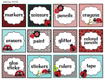 CLASSROOM ORGANIZATION LABELS (LADYBUG THEME) BLACK, RED AND TEAL ...