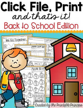 Click File, Print {and that's it!} Back to School FREEBIE for Kindergarten