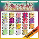 Clip Art: 19 Butterflies, High Resolution, PNG Format, Spr