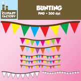 Clip Art: Bunting - Digital Bunting in Assorted colors and