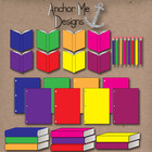 Clip Art: Colorful Classroom Items- open & closed books, p