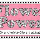 Clip Art - Flower Power Alphabet (black & white)