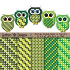 Clip Art Saint Patrick's Day Polka Dot Paper & Owls (green