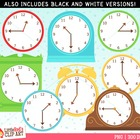 Clip Art: Telling Time Clocks - Blank, :00, :15, :30, :45