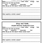 Clip Chart Behavior Reflection Sheet