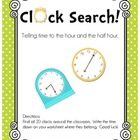 Clock Search! Telling time to the hour and the half hour