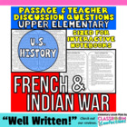 Close Reading Passage {French and Indian War 4th Grade}
