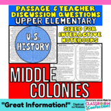 Close Reading Passage {Middle Colonies for UPPER ELEMENTARY}