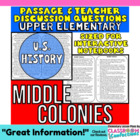 Close Reading Passage {Middle Colonies 4th Grade}