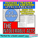 Close Reading Passage {The Intolerable Acts for UPPER ELEMENTARY}