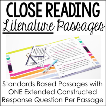 Close Reading Passages with Higher Order Thinking {Common Core: Literature}