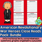 Close Reads Pack: American Revolutionary War Heroes- Bundle