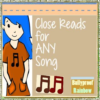Close Reads with lyrics- any song - critical thinking, common core