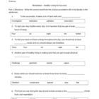 Cloze worksheet - Healthy Living (5 - 9)