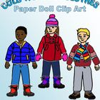 Cold Weather Clothes Clip Art: Fall and Winter Clothing and Dolls