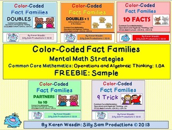Color Coded Fact Families Mental Math Strategies Common Core FREEBIE Sample